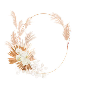 Wedding dried lunaria, orchid, pampas grass floral wreath. Vector Exotic dried flowers, palm leaves boho