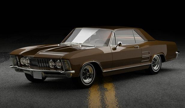 classic american car, 1963 buick riviera cgi car render