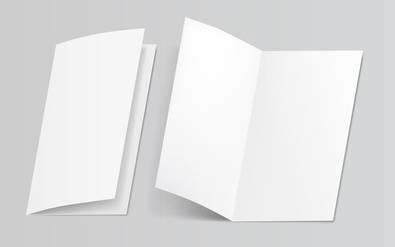 Mock up of booklet isolated. Opened and closed magazine, brochure or notebook template