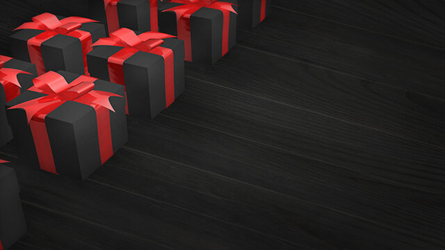 Lots of present boxes in a black background. A black Friday advertisement template concept