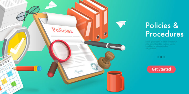 3D Vector Conceptual Illustration of Policies and Procedures, Regulatory Compliance Legal Services.