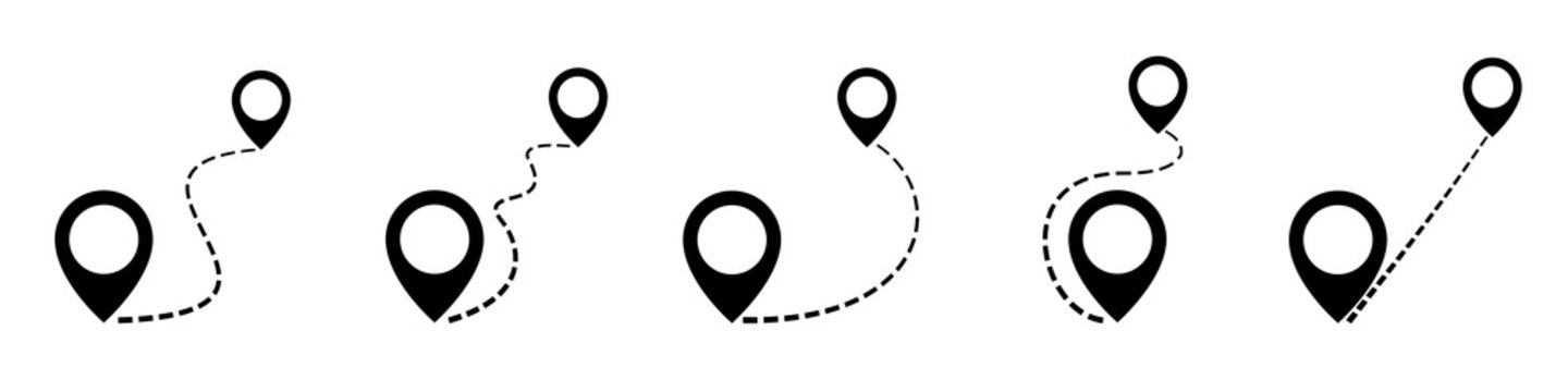 Set map distance measuring icon, pin map marker pointer sign, GPS location flat symbol – vector