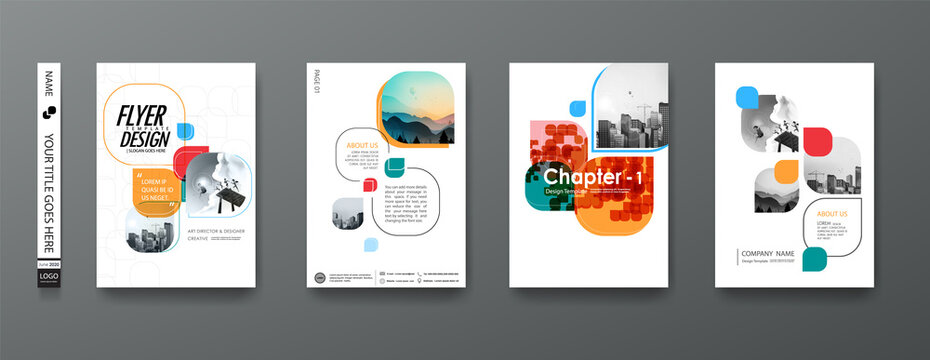 Portfolio geometric design vector set. Abstract blue liquid graphic gradient circle shape on cover book presentation. Minimal brochure layout and modern report business flyers poster template.