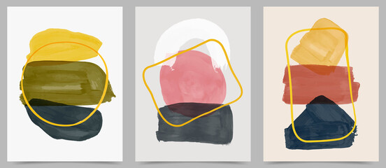 Vector illustration. Abstract contemporary aesthetic backgrounds. Design for cover, poster, postcard, card, flyer, brochure, frame. Wall decor. Modern art print. Watercolor painting. Hand painted