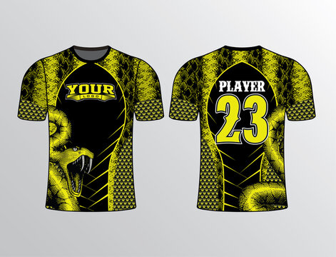 Black yellow color base wrap with snake pattern all over wild edgy looking team gear template for all sports