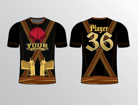 Black dark brown gangster theme dress of bandits look sports jersey mockup design make this jersey wild edgy