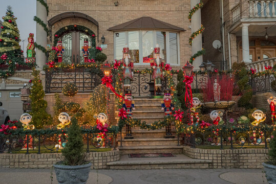 Christmas decorations of houses in the neighborhood of Dyker Heights, in southwest of Brooklyn, in New York. USA