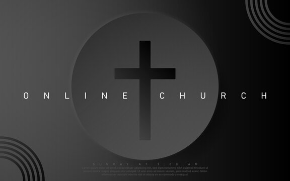 Vector Online Church banner. Worship Jesus. Church live event. Black background