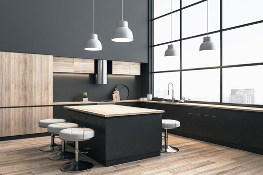 Contemporary kitchen interior with dinning table and city view.