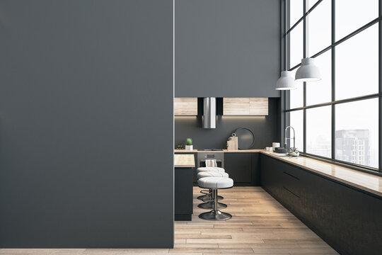 Stylish panoramic kitchen interior with city view