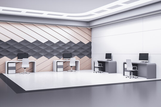 Contemporary coworking office room