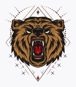 Angry bear mascot emblem sith sacred background.