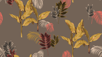 Botanical seamless pattern, hand drawn various plants in brown tone