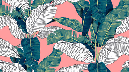Botanical seamless pattern, hand drawn banana tree on bright red