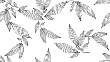 Botanical seamless pattern, hand drawn line art leaves on white