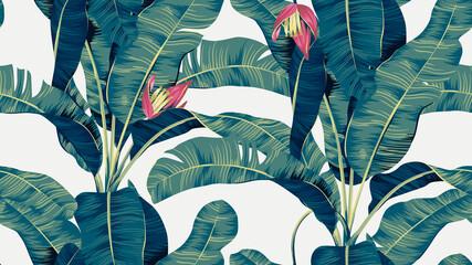 Botanical seamless pattern, hand drawn banana tree on bright grey