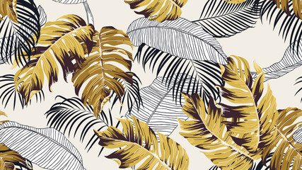 Botanical seamless pattern, hand drawn various plants in black and brown tones