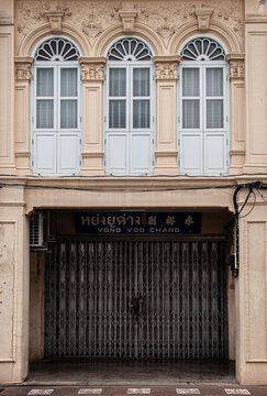 Old Phuket Sino Portuguese house classic facade with stuccowork in Phuket Old town area. Thailand