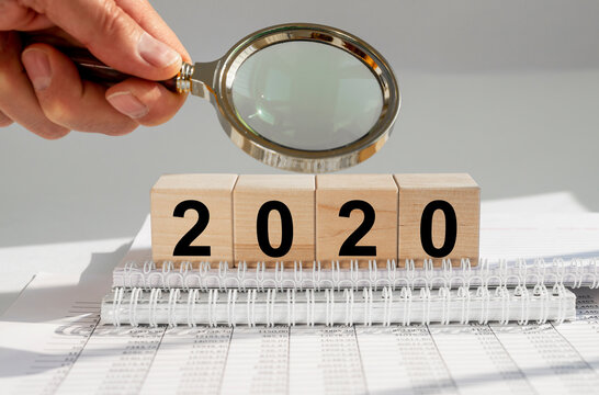 2020 year concept for business, budget and financial recap or summary. Research of year