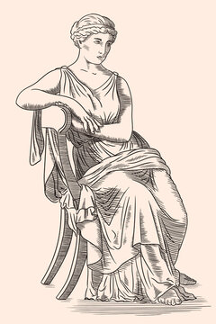 An ancient Greek young woman in a tunic sits on a chair. Antique engraving.