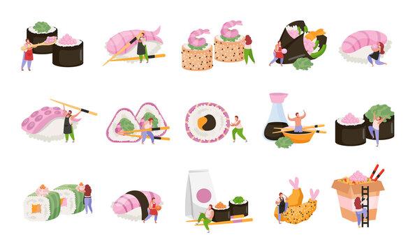 Sushi Flat Recolor Icon Set
