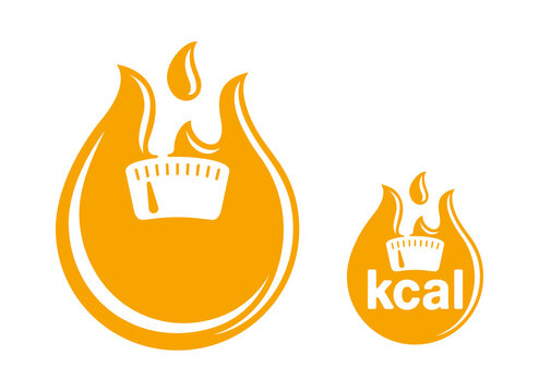 kcal flat icon (calories sign) combination of flame (fat burning) and weight scales - isolated vector emblem for healthy food, fitness or diet program packaging