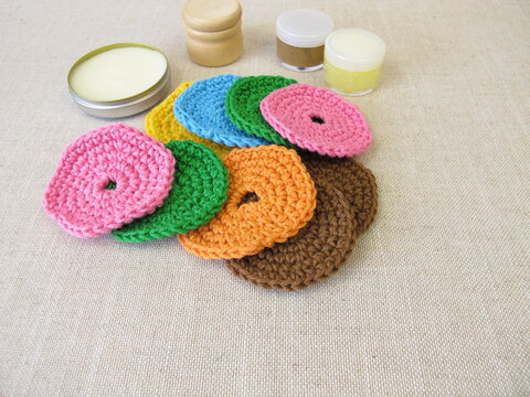 Crocheted, reusable, washable cosmetic pads made of wool for face cleansing