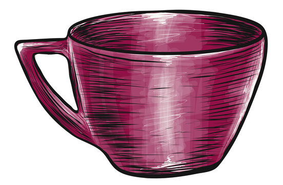 Cup, sketch, hand-drawn, vector, illustration, isolated, dishes, burgundy, pink
