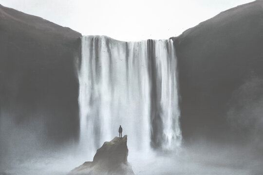 illustration of man looking at majestic powerful waterfall, natural concept