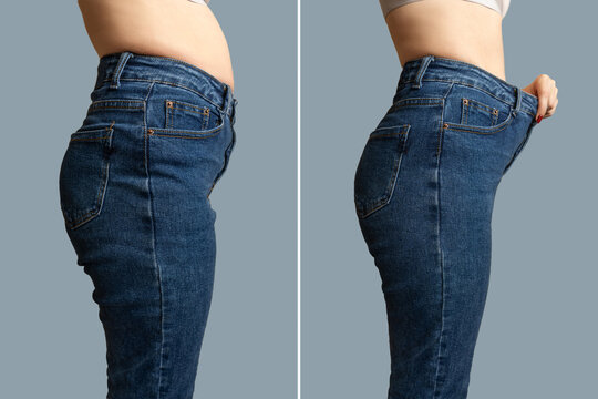 Female body before and after weight loss, diet concept. Woman is measuring waist. Belly and legs in jeans close-up.