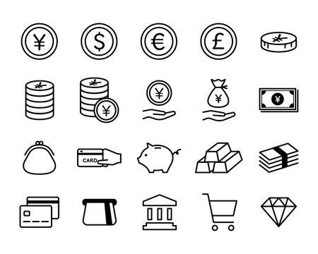 お金、金融、経済のアイコンのセット/ビジネス/通貨/貨幣/紙幣/銀行/貯金/現金/クレジットカード