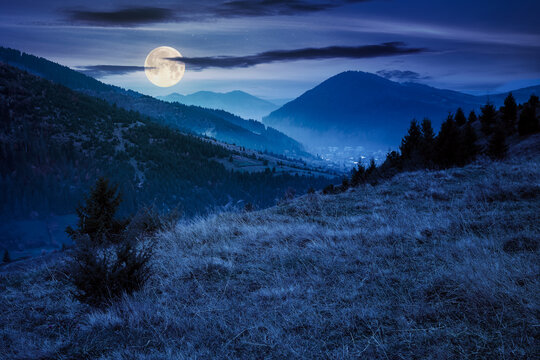 foggy morning in carpathian countryside at night. village down in the rural valley. trees in fall foliage on the hills in full moon light. gloomy weather