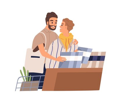 Cute gay couple shopping together. Homosexual partners hugging and choosing goods in the shop. Flat vector cartoon illustration of romantic boyfriends isolated on white