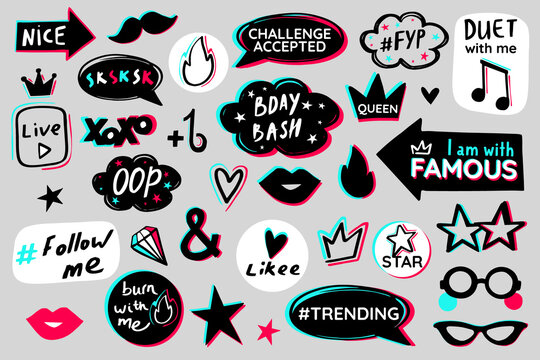 Youth teens party glitch props. Modern advertising social media birthday celebration design. Icon fashion photo booth props advertising. Black blue pink sticker pack white background. Vector graphic.