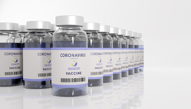 Guilherand-Granges, France - November 16, 2020. Covid-19 vaccine with Sanofi logo. French multinational pharmaceutical company.