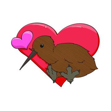 kiwi bird with hearts