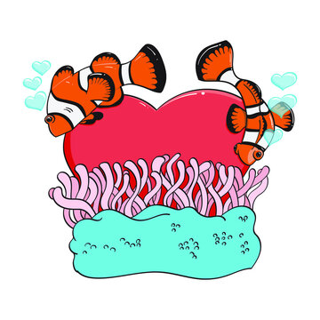 clown fish and anemone with hearts