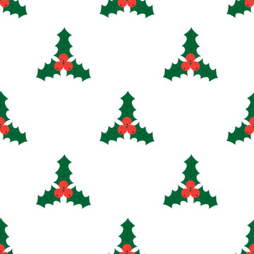 Christmas seamless pattern with holly leaves and berries. Misletoe background.