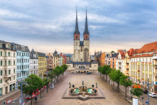 Halle (Saale), Germany. Aerial view of Hallmarkt square and Marktkirche church in old town
