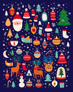 Christmas decorative banner with funny Santa Claus, Christmas toys, Christmas tree and holiday elements. Christmas pattern