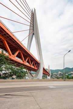 Empty road and Dongshuimen bridge in Chongqing, China