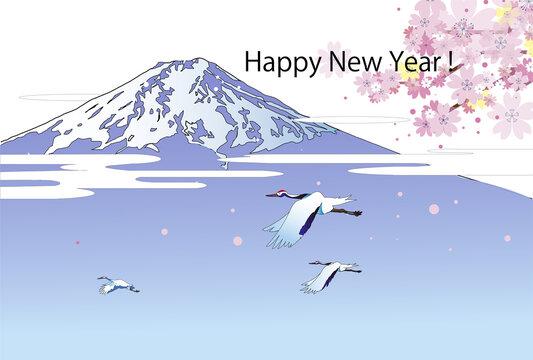 年賀テンプレート、富士山と桜と鶴