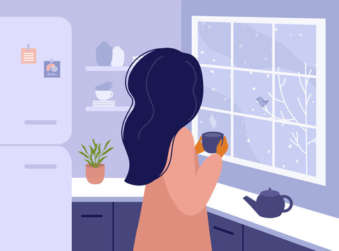 Woman standing in kitchen looking out window. Girl drinking hot tea or coffee at home, watching on winter landscape outside. Time for yourself, relax, slow down concept. Life style vector illustration