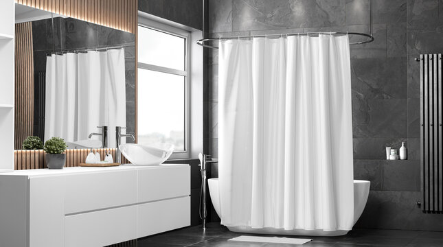 Blank white closed shower curtain mockup, half-turned view