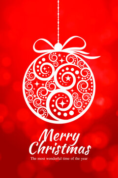 Vector Christmas greeting card design. Abstract Christmas ball on red background. The most wonderful time of the year