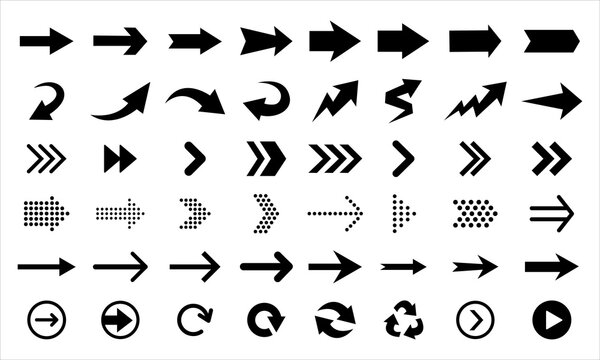 Black arrows and pointers showing direction, isolated on white background. Big vector set of navigation elements.