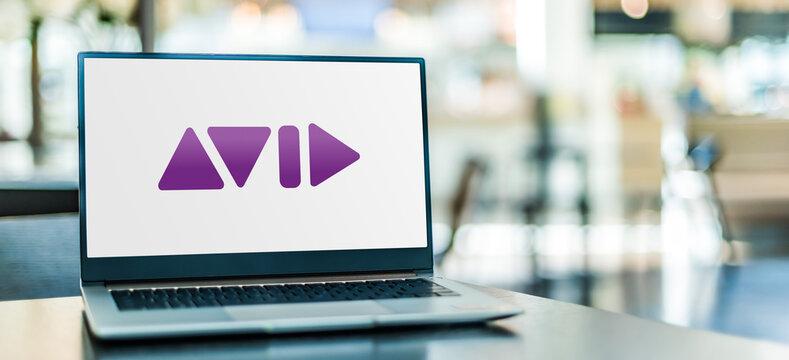 Laptop computer displaying logo of Avid Technology
