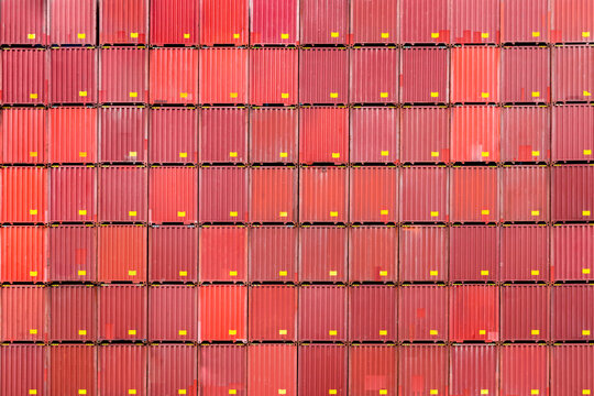 stack of containers, cargo logistics and warehouse