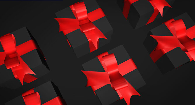 Lots of present boxes in a black background. A top view black Friday advertisement concept backdrop