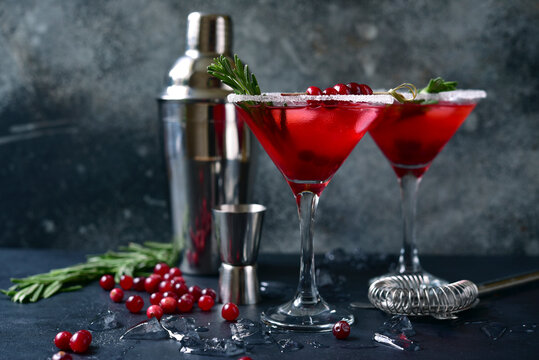 Christmas cranberry cocktail with rosemary.